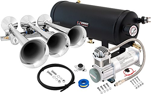 Vixen Horns Loud 149dB 3/Triple Chrome Trumpet Train Air Horn with 1.5 Gallon Tank and 200 PSI Compressor Full/Complete Onboard System/Kit VXO8315/3118