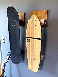 Bamboo Skateboard Wall Rack | Mount for Storing Your Skateboard or Longboard Skate. Simple Design and Easy to Install.