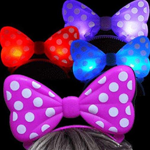 +++ LA Wholeesale Store Mickey Minnie Ear Headbands Costume 12 pcs Set (12 Light up Polka Bow) + FREE Temporary Body -