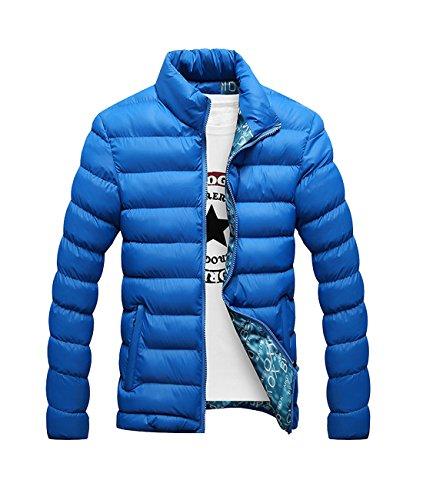 Herren Verpackbar Stehkragen Leicht Warmer Winter Jacken Puffa Gepolstert Mantel (XXXXL, blau)