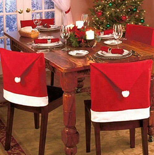 LOVE US Santa Claus Clause Hat Chair Covers Set of 4 Decor Christmas Holiday Festive Brand New 4 pcs