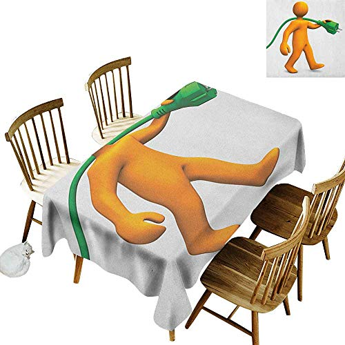 kangkaishi Easy to Care for Leakproof and Durable Long tablecloths Outdoor Picnic Orange Cartoon Character Handyman Carrying an Electric Connector W70 x L120 Inch Orange Fern Green