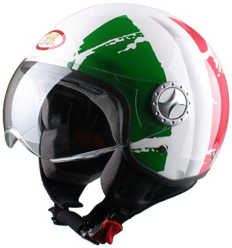 557 opinioni per BHR 49838 Casco Demi-Jet, Taglia S, Bandiera Italia, Bianco