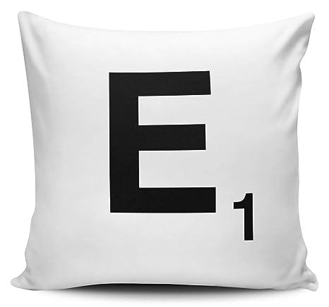 Pillow Case Home Sofa D/écor Cushion Cover Scrabble Alphabet Letter-E