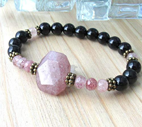 , Strawberry Quartz bracelet with Onyx, energy, gemstone bracelet, Reiki, crystal healing - love & Healing
