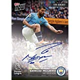 """Sergio Aguero Signed Topps Now Premier League 2018 Card #006a""""hat Trick Hero - Autographed Soccer Cards"""