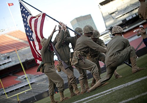 (Home Comforts Laminated Poster Marines reenact The World War II Flag Raising on Mount Surabachi on Iwo Jima During The Half time sh)