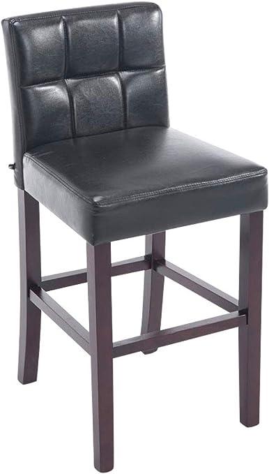 CLP Tabouret de Bar Raphael Similicuir I Tabouret de Bar avec Dossier et Assise Rembourrés I Chaise de Bar Pieds en Bois Repose Pied Couleur: Noir,