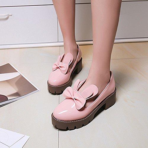 Talons Escarpins Femmes Boucle Décoration Moyen MissSaSa Plateforme deux Chaussures à Noeud Bloc Rose qOEA5nxBw