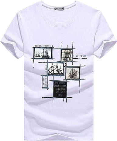 Camiseta 2019 Camisetas para Hombre Tallas Grandes 5XL Camiseta Homme Verano Manga Corta Camisetas para Hombres Hombre Homme @ White_M: Amazon.es: Ropa y accesorios
