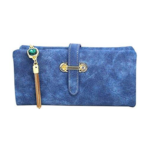 Femelle Zipper Monnaie Pochette Longue Vintage Sac Sapphire Retro Cuir Porte Gland Nubuck Haoling Monnaie blue Titulaires Porte Femmes Portefeuille En Mode F601A4
