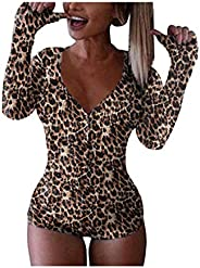 Roselux Women's Sexy Deep V Neck Shorts Long Sleeve Knitted One Piece Bodysuit Sexy Pajama Onesie Bodycon
