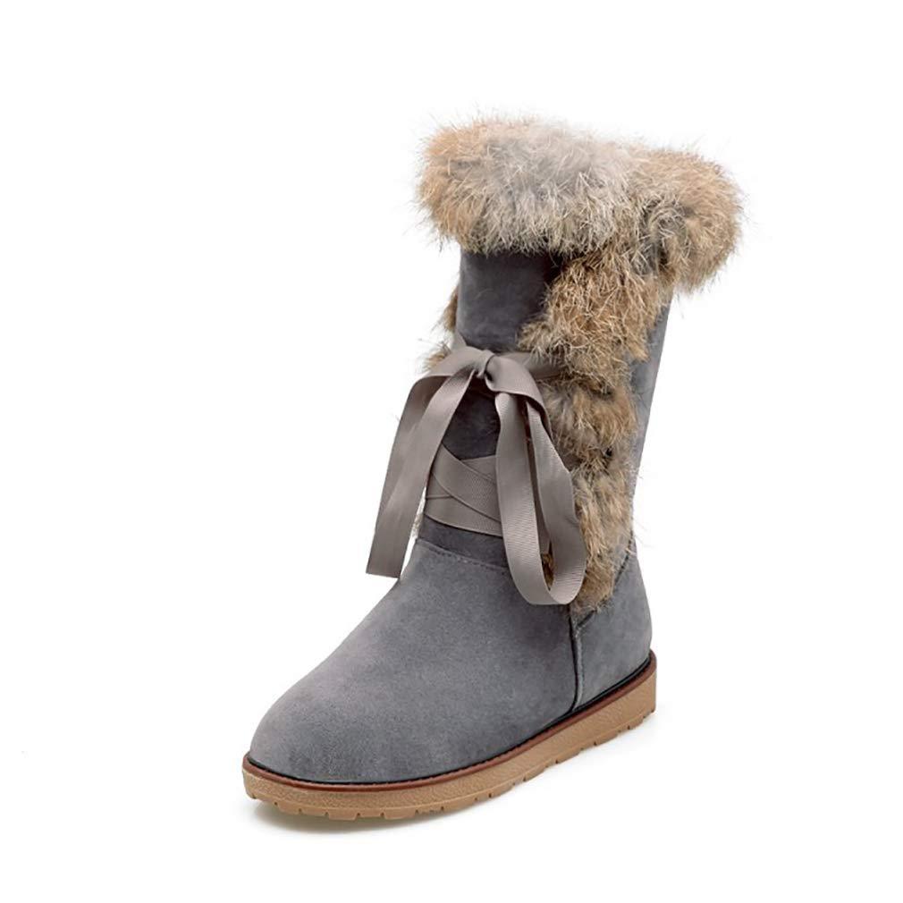 Hy Frauen Stiefel Winter Künstliche PU Schneeschuhe Stiefel Damen Warm Plus Dicke Lässig Stiefelies Student Große Größe Flache Stiefel Lace-up Stiefeletten (Farbe   C Größe   36)