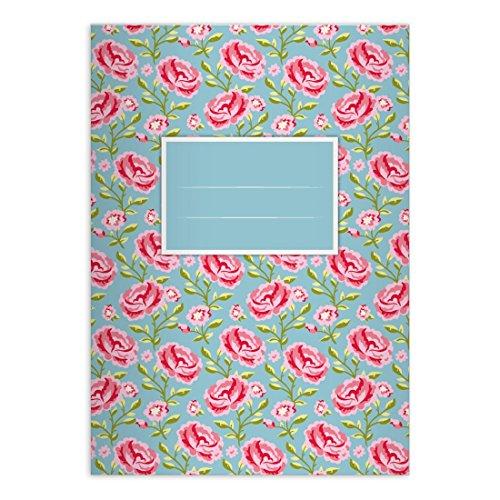1 Superbe cahier Shabby Chic avec des roses jolies, bleu ciel, A4 (29,7x21; 32p), cahiers pour écrire, linéatur 25 (cahier ligné, avec bord)