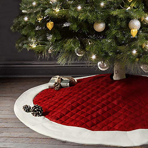 Ivenf 48 inch Large Thick Luxury Quilted Christmas Tree Skirt, Rustic Xmas Tree Holiday Decorations, Red White