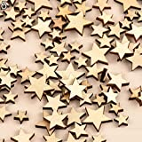 Rustic Wooden 100pcs Wood Love Heart Stars Wedding Table Scatter Decoration Crafts - #5 liyhh