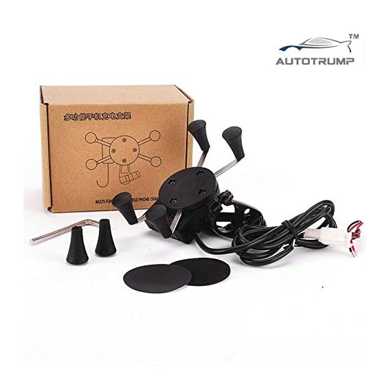 AUTOTRUMP Motorcycle Bike Handlebar Rail Mount USB Charger and Universal X-Grip Cell Phone Holder for Yamaha Crux