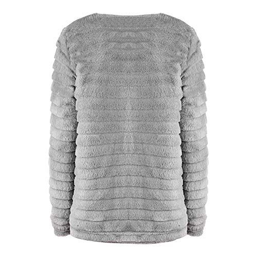 De Dames Femmes Manteau Chaud Veste Gris Mode Magiyard Artificielle Solide d'hiver De Fourrure SwxqA