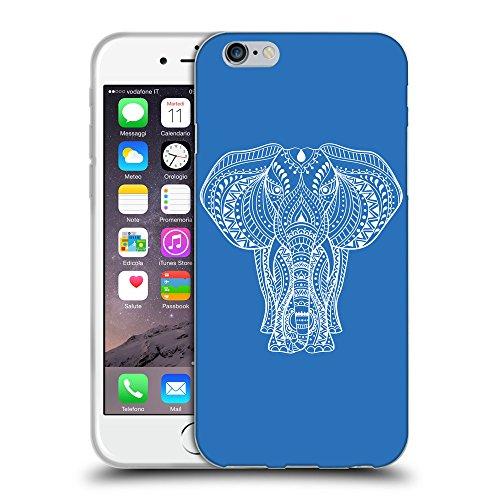 """GoGoMobile Coque de Protection TPU Silicone Case pour // Q09600608 Éléphant indien 2 Azur // Apple iPhone 6 4.7"""""""