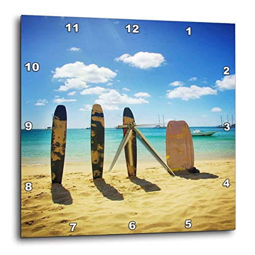 - 3dRose DPP_53307_1 Surfboards in The Sand Wall Clock, 10 by 10-Inch