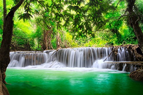 Green tropical waterfall (P-001099) - Nature Poster Canvas Art Print (36x24inch)