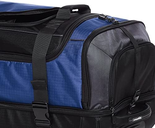Amazon Basics Ripstop Rolling Travel Luggage Duffle Bag With Wheels - 37 Inch, Blue
