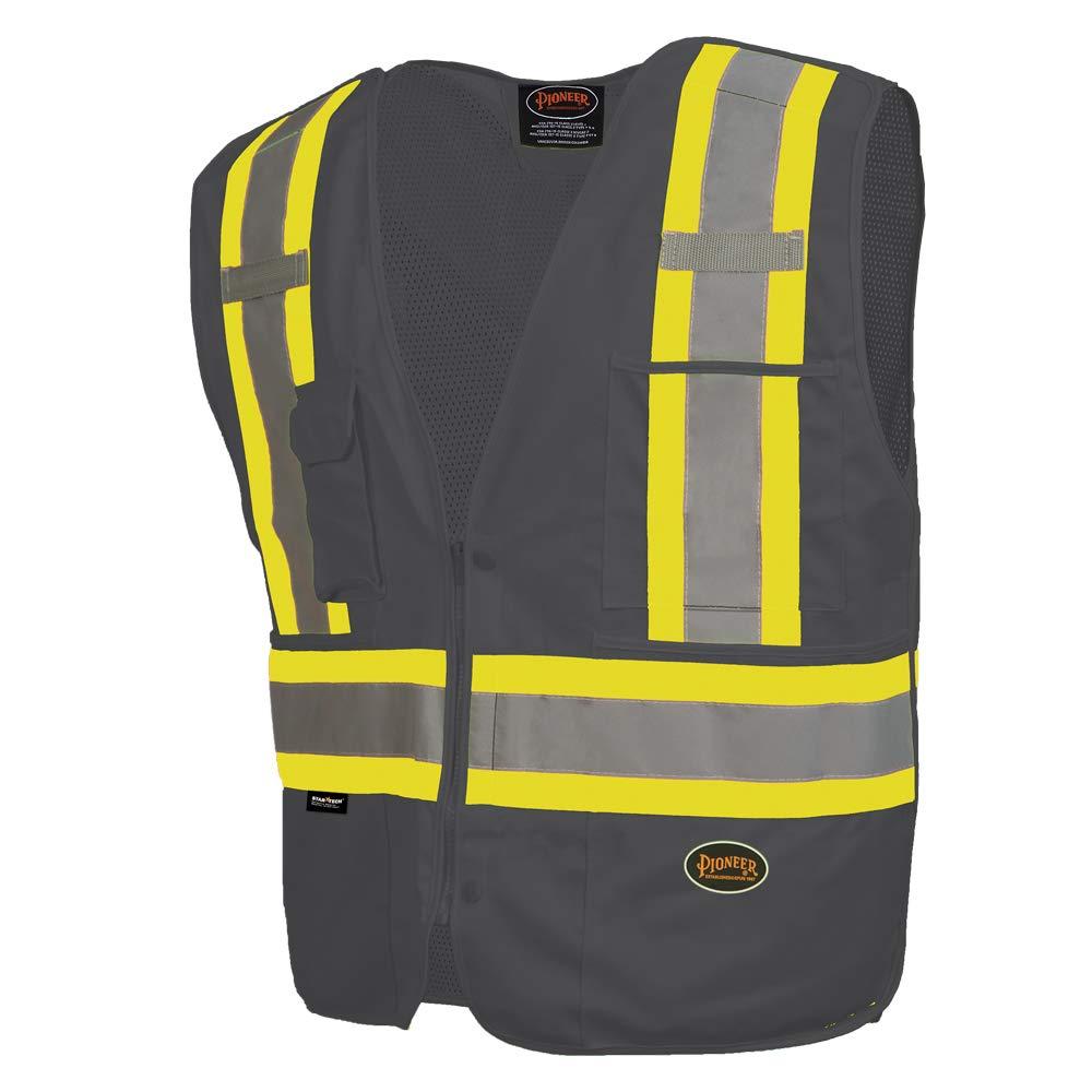 Pioneer Safety Vest for Men – Hi Vis, Reflective Stripes, Zipper, Snap Break Away, 4 Pockets - Construction, Traffic, Security – Black, Orange, Yellow/Green