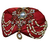 INMONARCH Mens Wedding Turban pagari safa hat for groom TU2288 22H-inch Maroon