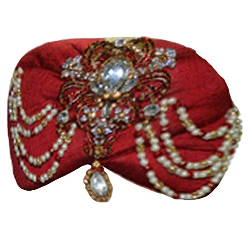 INMONARCH Mens Wedding Turban pagari safa hat for groom TU2288 22H-inch Maroon by INMONARCH