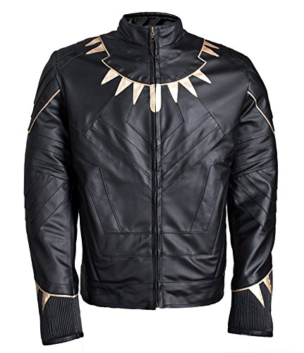 L.Outfitters Men's Black Panther Michael B Jordan Killmonger Avengers Infinity War 2018 Leather Jacket - New Arrival (Gold, Large) by L.Outfitters
