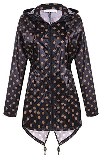 Womens Waterproof Rain Jacket Hooded Windbreaker Windproof Rain Coat Shell Black&Brown M