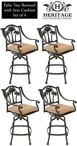 Heritage Outdoor Living Palm Tree Cast Aluminum Barstool – Set of 4 – Antique Bronze For Sale