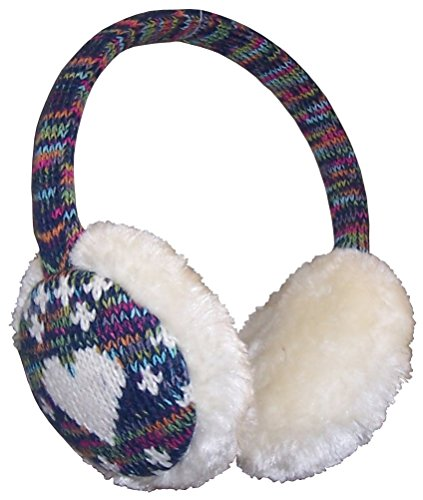 Girls Earmuff (N'Ice Caps Girls Faux Fur Ear Muff With Knitted Heart Design (One size fits all, winter white/turq-fuchsia-lime multi))