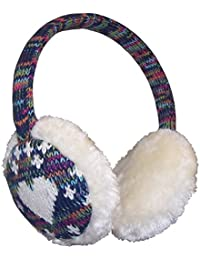 Girls Faux Fur Winter Earmuff with Knitted Colorful Design