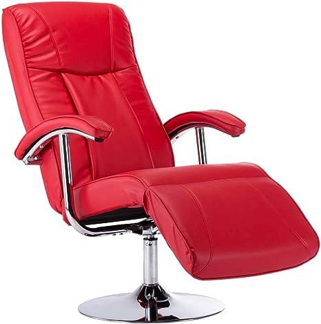 vidaXL Massagesessel mit Heizung TV Sessel Fernsehsessel Relaxsessel Ruhesessel Polstersessel Liegesessel Ledersessel Rot Kunstleder