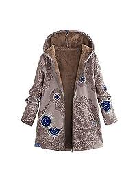 ZEFOTIM Womens Winter Warm Outwear Print Hooded Pockets Vintage Oversize Coats