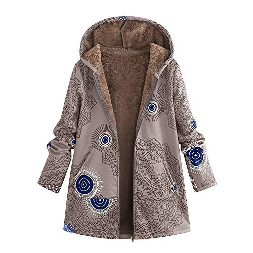 COPPEN Womens Coats Winter Warm Outwear Print Hooded Pockets Vintage Oversize Hoodie