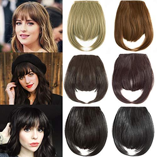 Felendy Clip in Bangs Fringe Front Neat Straight Hairpiece One Piece Clip-on Hair Extensions with Temples Cute