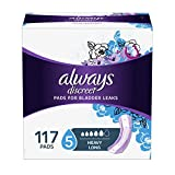 Always Discreet Incontinence Pads for Women, Heavy Absorbency, Long Length, 117 Count, packaging may vary