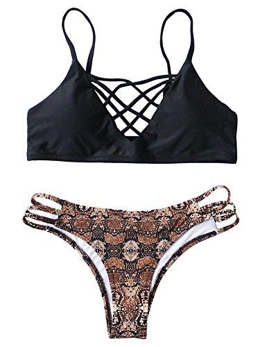 SweatyRocks Women Bathing Suit Spaghetti Strap Floral Print Crisscross Bikini Set Medium Black#1