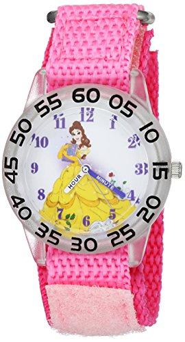 Disney Girl's 'Princess Belle' Quartz Plastic and Nylon Casual Watch, Color:Pink (Model: WDS000224)