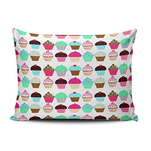 MUKPU Colorful Delish Love Cupcakes Dessert Home Decor Sofa Pillowcase 12X16 Inch Boudoir Throw Pillow Case Hidden Zipper Single-Sided Printed -