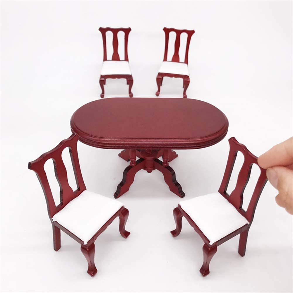 hitonsmusu 5Pcs//Set 1//12 Doll House Accessories Miniature Doll House Furniture Decor Mini Vintage Wooden Dining Table Chairs Pretend Play Toy