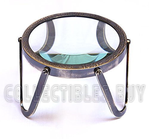 Vintage Table Round Magnifying Glass Maritime Brass Henry & Hughes London Collectible Nautical Item