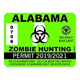 "RDW Alabama Zombie Hunting Permit - Color Sticker - Decal - Die Cut - Size: 4.00"" x 3.00"""