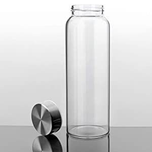 Kablo Glass Water Bottle 32 or 21 oz, 100% Borosilicate Glass, BPA Free, Leak Proof Stainless Steel Lid, Wide Mouth, Non Toxic and Eco Friendly