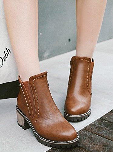 Block Mid Heels Women's Aisun Hollow Boots Chic Out Brown Platform x6qXxOIUw
