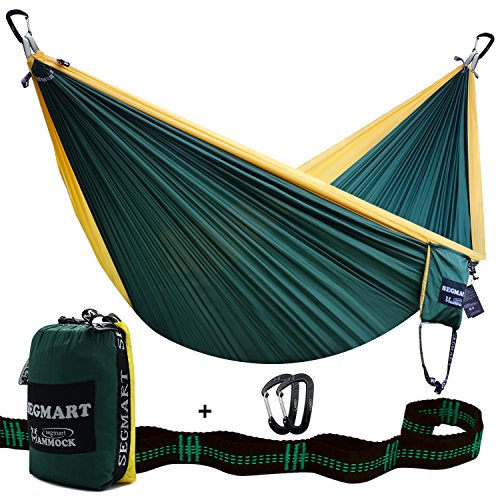 SEGMART Double XL Hammocks with Hammock Straps & Carabiners - Blackish Green / Yellow