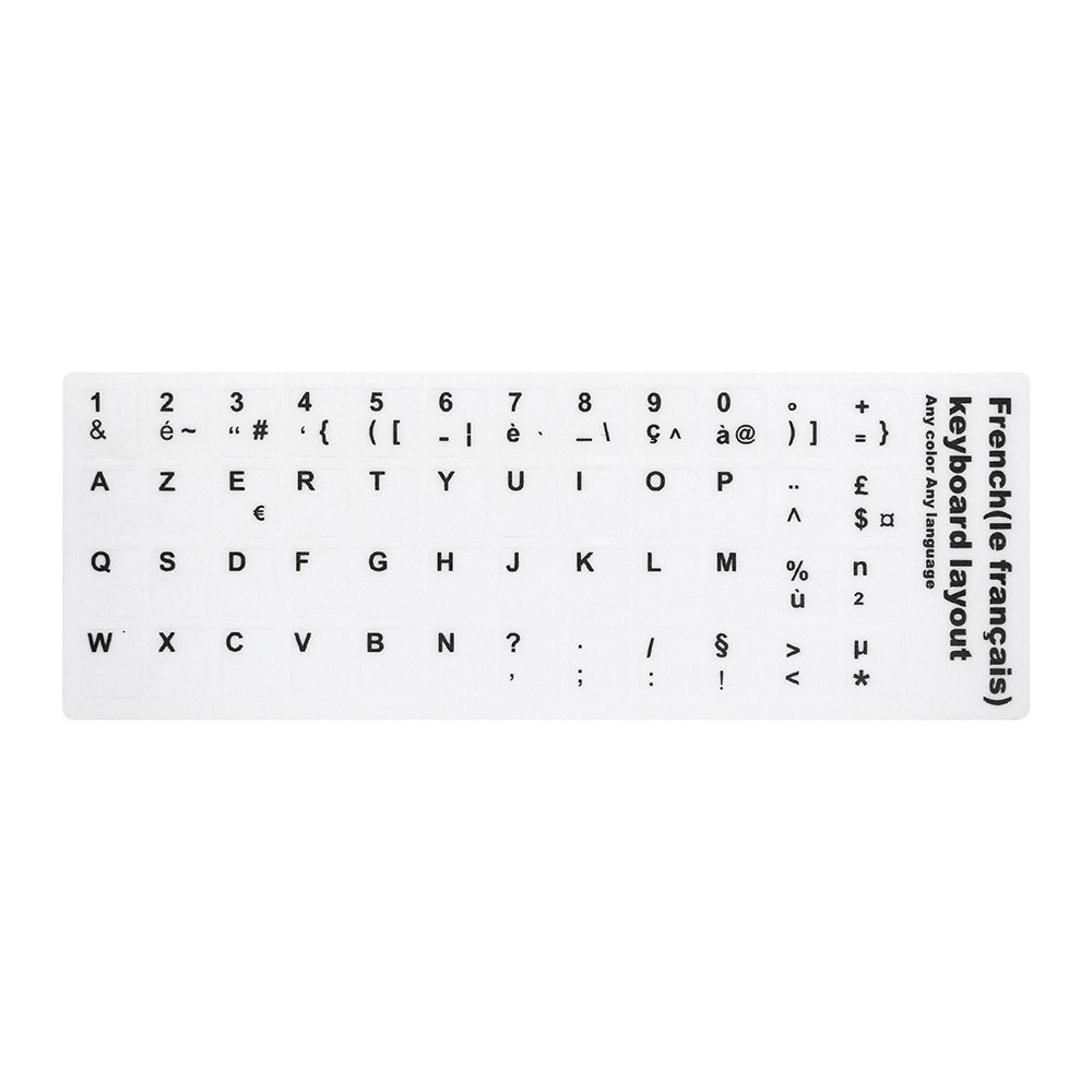 Docooler French AZERTY Replacement Keyboard Sticker with Big Letters Non-Transparent Universal for Laptop Notebook