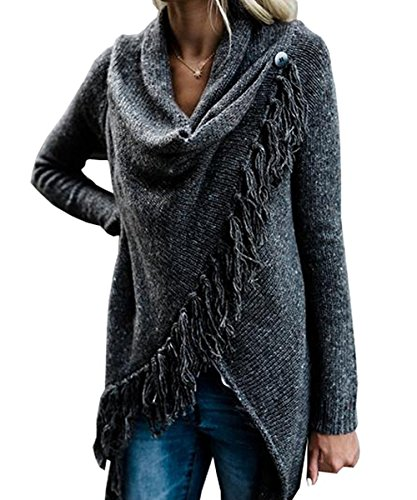 Sweetnight Women's Casual Speckled Fringe Cardigan Cowl Neck Knited Tassels Slash Sweaters Asymmetric Hem Wrap Poncho Coat Outwear (L, Black)